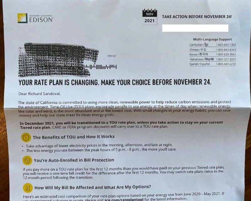 New Rates from Southern California Edison